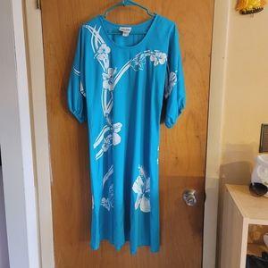 Vtg Hans Jutte tropical Hawaii hibiscus dress
